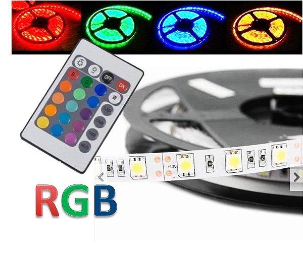 Fita Led Ultra Rgb 5050 Rolo 5m Prova D'agua + Controle + Fonte Bivolt