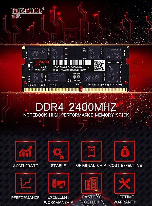 Memória DDR4 8GB 2400mhz Para Notebook