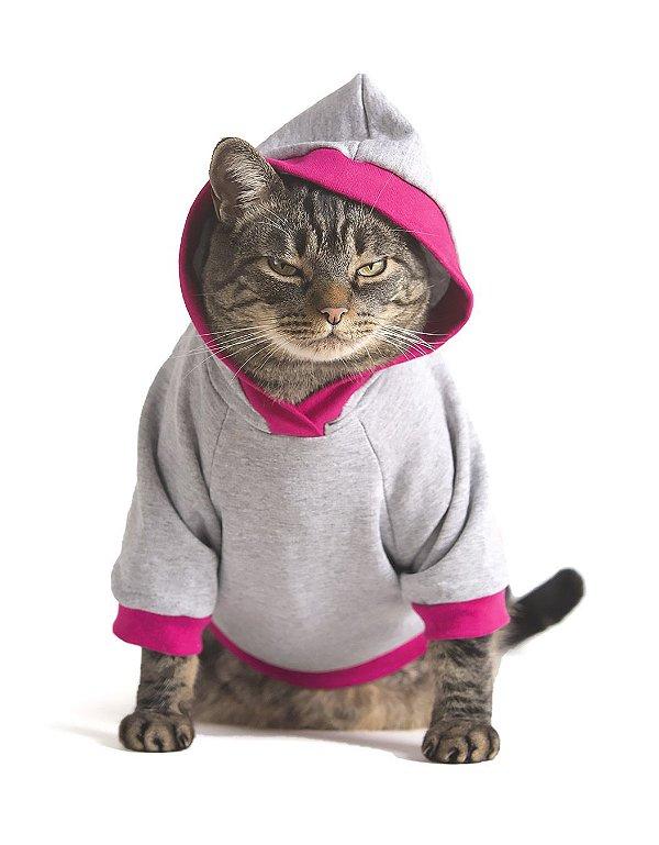 Moletom Cinza e Rosa | Roupa Para Gatos