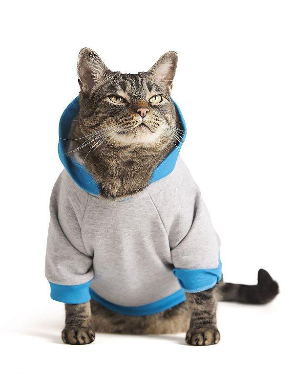 Moletom Cinza e Azul | Roupa Para Gatos