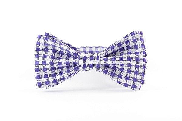 Gravata Tricoline Xadrez Azul e Branco