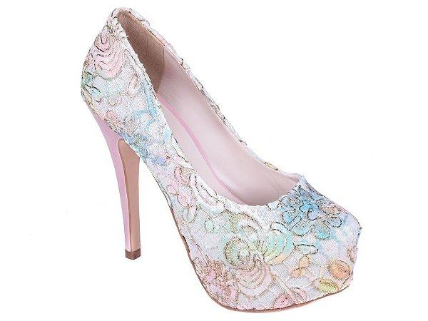 Sapato Meia Pata Torricella Tecido Renda Colorido