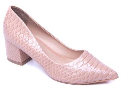 Sapato scarpin croco nude
