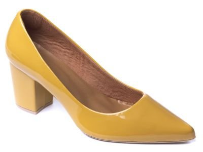 Sapato Scarpin Verniz Amarelo