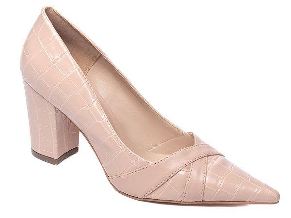 Sapato Scarpin Croco Rosê