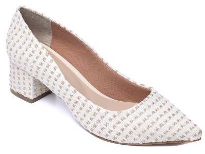 Sapato Scarpin Tecido Bege