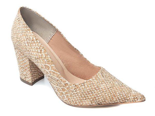 Sapato Scarpin Croco Bege