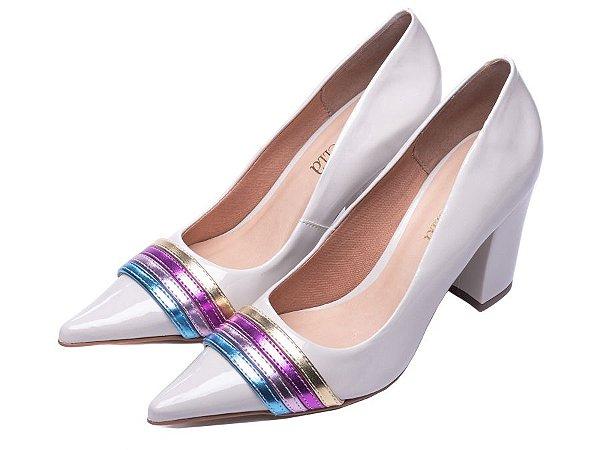 Sapato Scarpin Torricella Branco com listras Coloridas