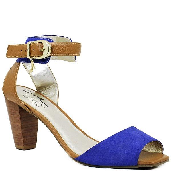 Sandália Salto Grosso Médio - 3476 - Azul e Rum