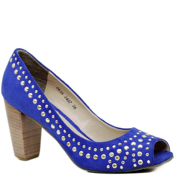 Peep Toe Salto Grosso - Suede Azul - 3487