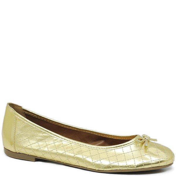Sapatilha Charmosa em Matelassê com Laço - Ouro - 3706