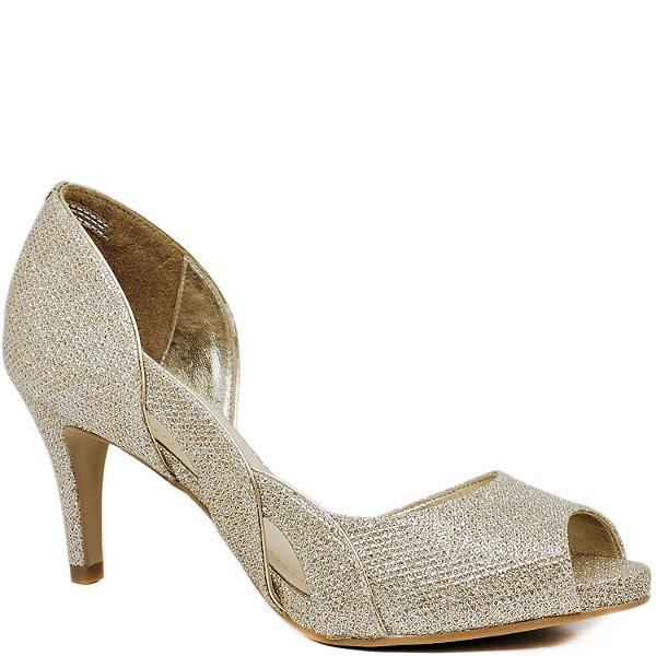 Peep Toe Salto Médio - Tecido Champagne Brilho - 62095