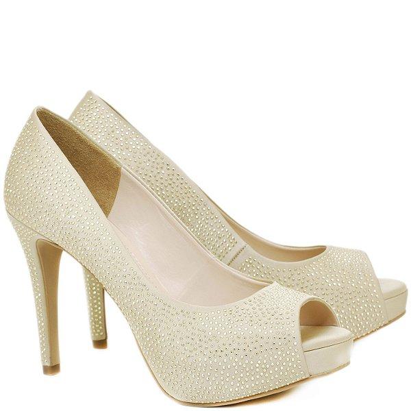 Peep Toe Salto Alto Fino - Cetim Dourado e Hotfix - 86210