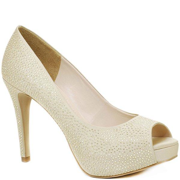 2840f856f7 Peep Toe Salto Alto Fino - Cetim Dourado e Hotfix - 86210 - Sapatos ...