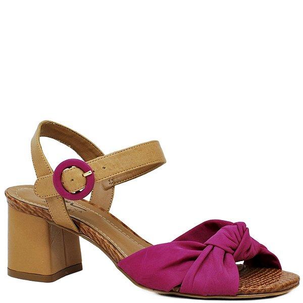 Sandália Retrô com Salto Grosso Médio - Pink e Caramelo - 44212