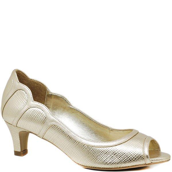 Peep Toe Salto Baixo - Dourado - 47088