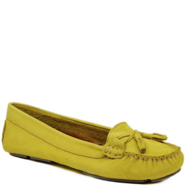 Mocassim Feminino - Nobuck Amarelo - 3008
