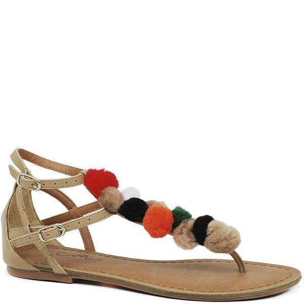 Rasteira de Pompons Coloridos - Areia - 860-071
