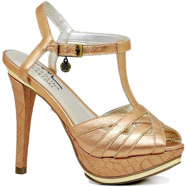 Sandália Salto Fino - 9757 - Bronze