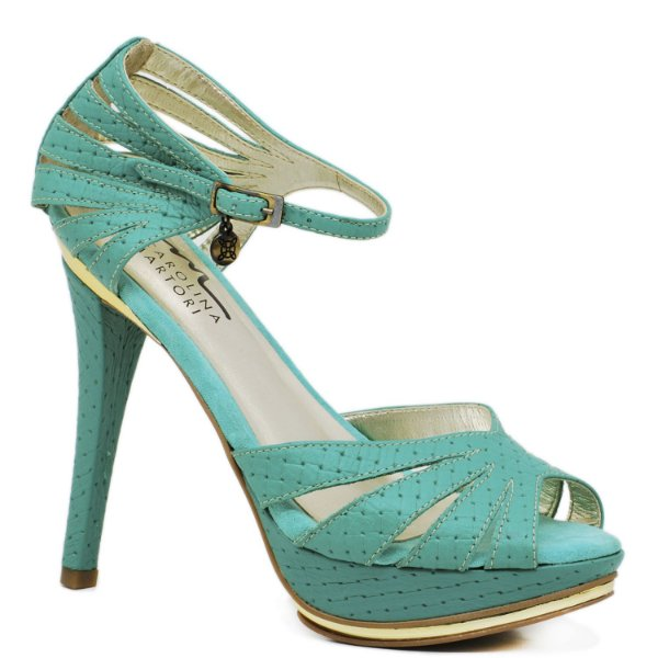 1bfed701f39 Sandália Salto Fino - 9758 - Esmeralda - Sapatos