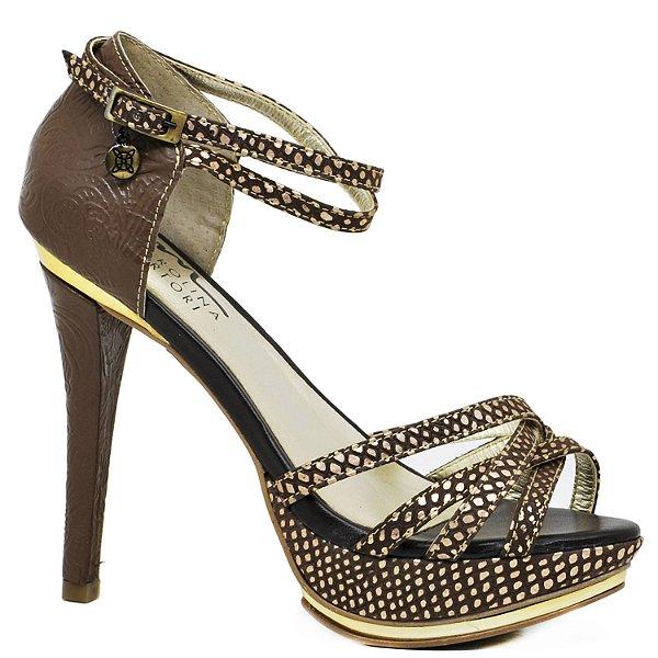 3b4592ad2 Sandália Salto Fino - 9760 - Café - Sapatos, bolsas e acessórios ...
