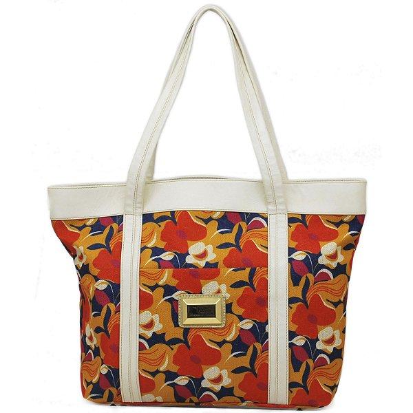 Bolsa Grande de Mão - 10235 - Floral - Laranja - Amarelo