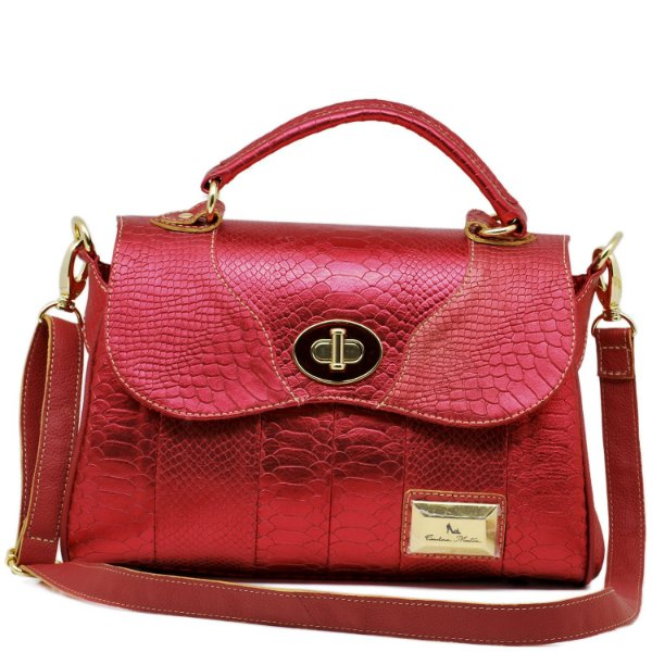 Bolsa Estruturada - 10258 - Croco Vermelho