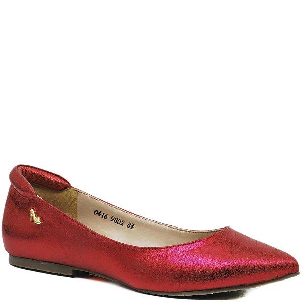 Sapatilha Charmosa bico fino -Brilho Vermelha - 9802