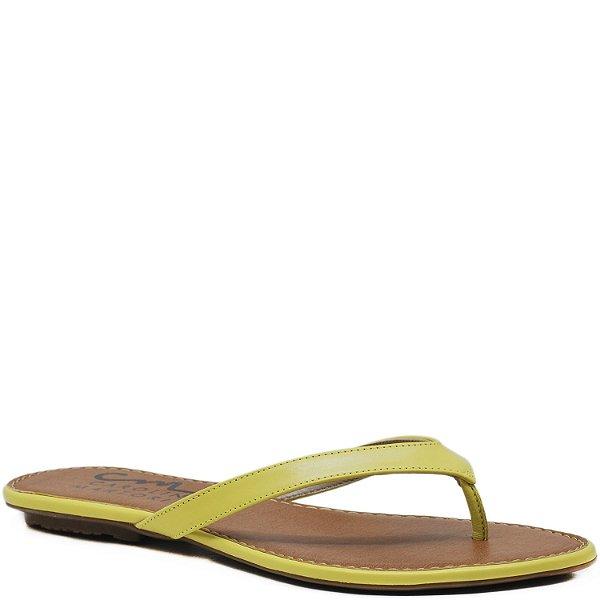 Rasteira básica em Couro - Amarelo - 105022