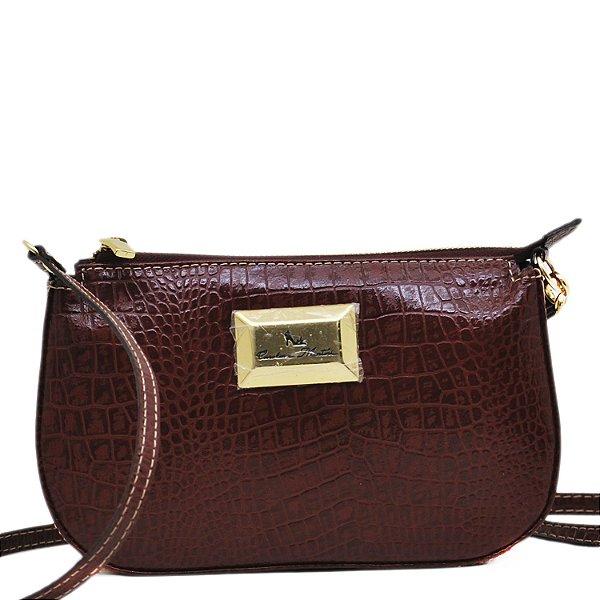 Bolsa Pequena Transversal - FLOR1039 - Croco Bordo