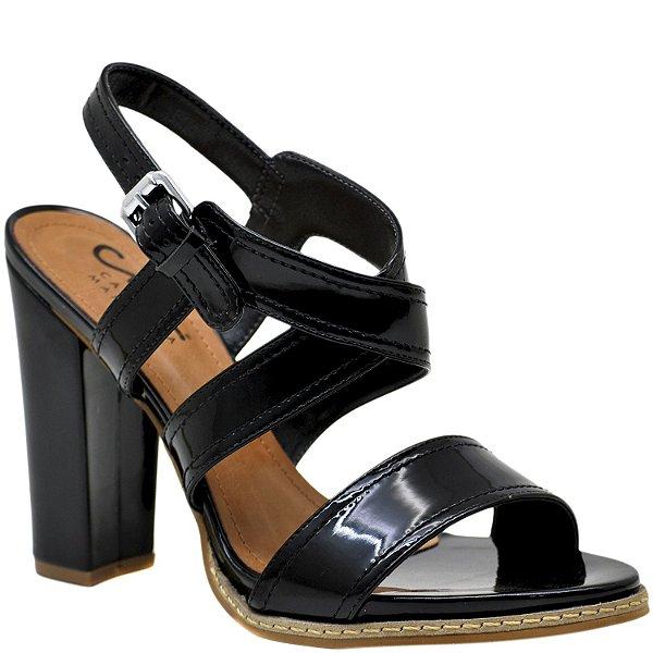 4330eee790 Sandália Salto Grosso Alto com Vira - Verniz Preto - 34043 - Sapatos ...
