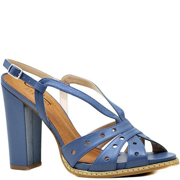 Sandália Salto Grosso Alto com Vira - Couro Grey - 34047