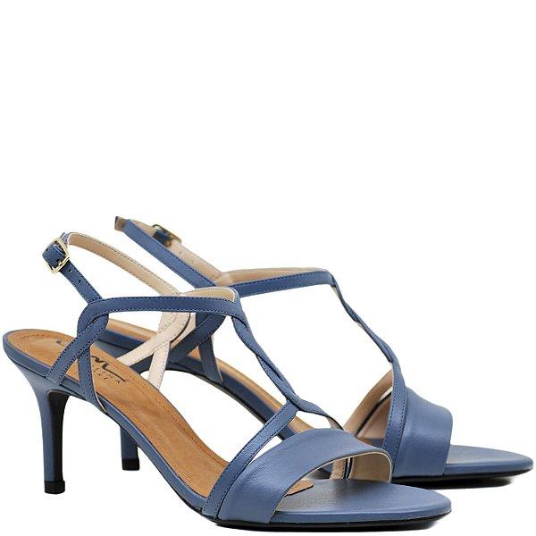 Sandália Salto Fino Médio - Infinito - Couro Grey - 10667