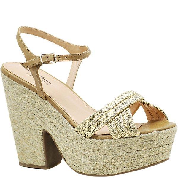 05af46223 Sandália Plataforma Juta - Ouro / Gengibre - 47709 - Sapatos, bolsas ...
