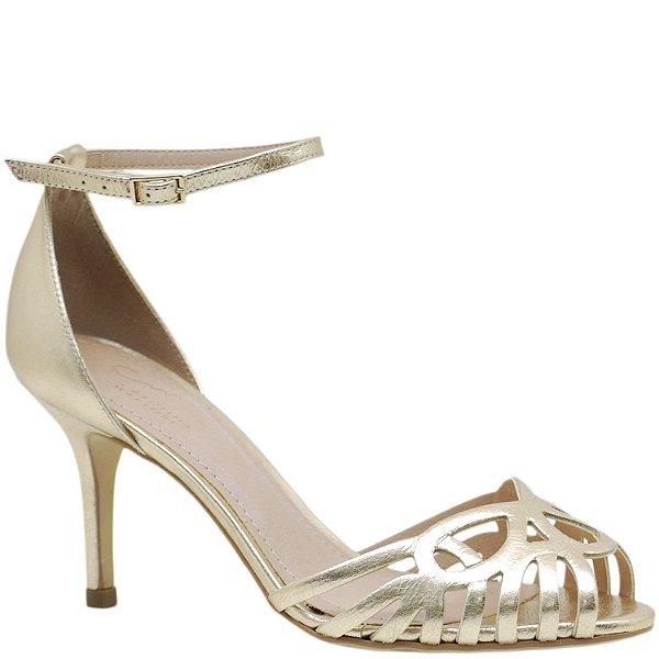 0fb1923bb Sandália Salto Fino Médio Festa - Dourada - 79125 - Sapatos, bolsas ...