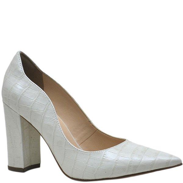 Scarpin Bico Fino Salto Grosso - 53008 - Off White