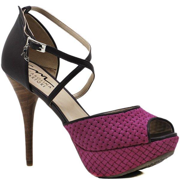 Sandália Salto e Meia Pata - 4955 - Pink / Ameixa - salto faxete