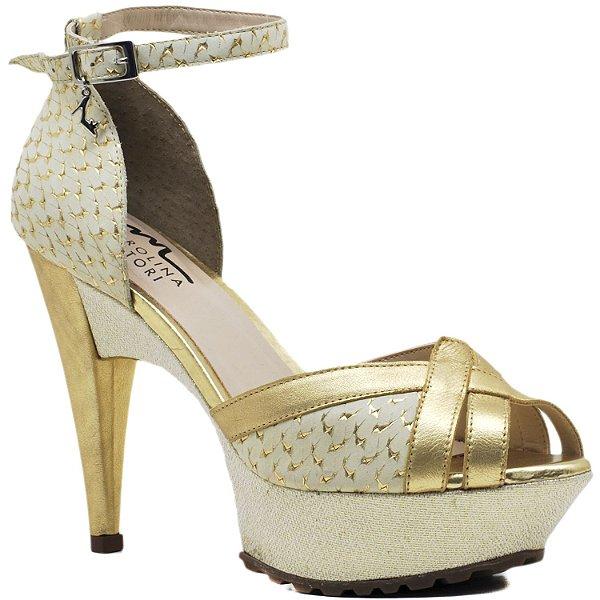 Sandália Salto e Meia Pata - 3608 - Ouro