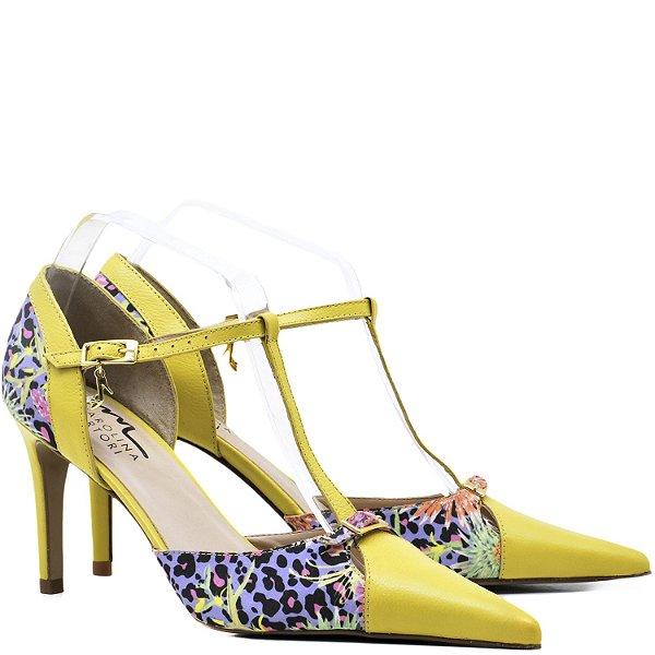 Scarpin Clássico Salomé - 19005 - Amarelo / Flores