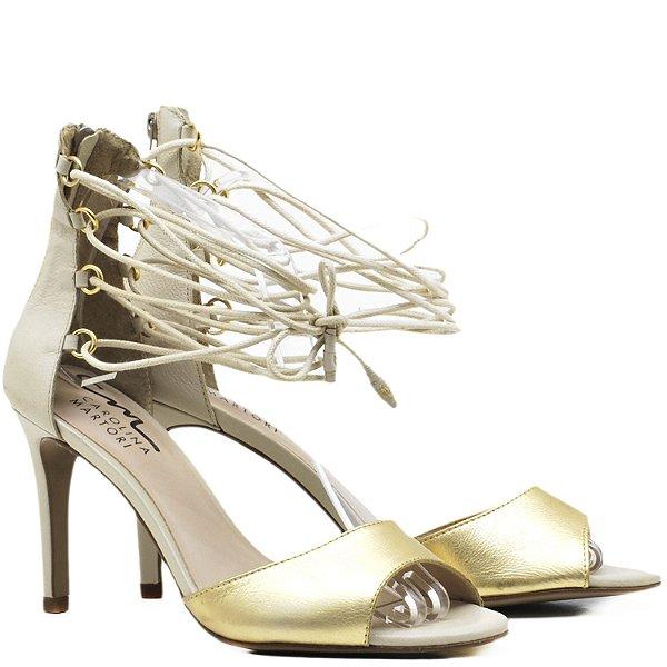 Sandália Salto Alto de amarrar - 6203 - Ouro / Marfim