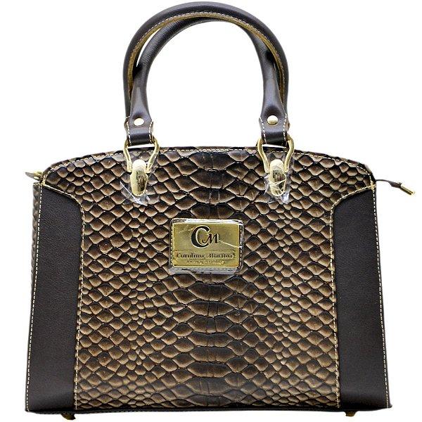 Bolsa De Mão Estruturada - 103001 - Cobra Chocolate