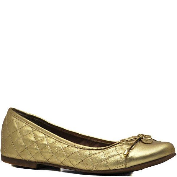 Sapatilha Bico Redondo Matelassê - 200335 - Metalizado Dourado