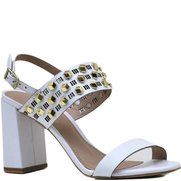 a92fe0929 Sandália Clássica Salto Grosso Alto - Napa Branca - 8819 - Sapatos ...