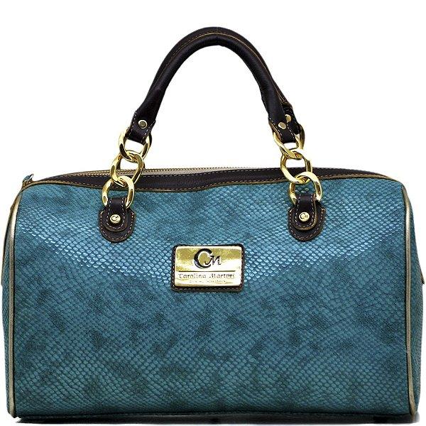 Bolsa Baú Estruturada - 10343 - Azul / Ouro