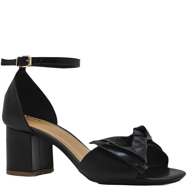 a1269c3b3 Sandália Nó Salto Grosso Médio - Preta - 6474 - Sapatos, bolsas e ...