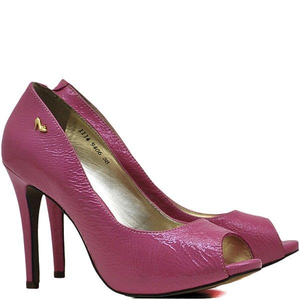 Peep Toe Salto Alto Fino - 9406 - Vz Molhado Pink