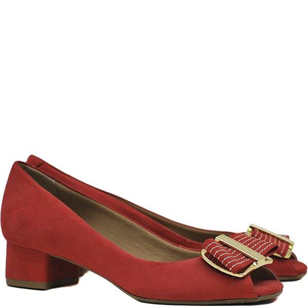 Peep Toe Salto Baixo - 60236 - Nob Vermelho