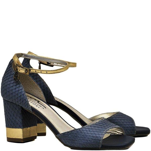 Sandália Clássica Salto Grosso Médio - Snake Azul - 5512