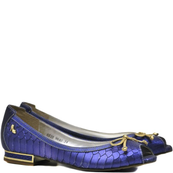 Peep Toe Salto Baixo - 9640 - Azul / Ouro