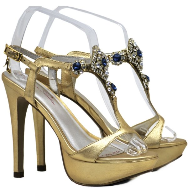 Sandália Salto e Meia Pata - 4944 - Ouro